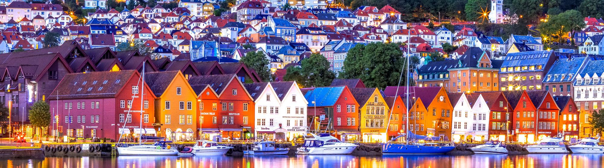 Several hotels available in historic surroundings on Bryggen in Bergen.