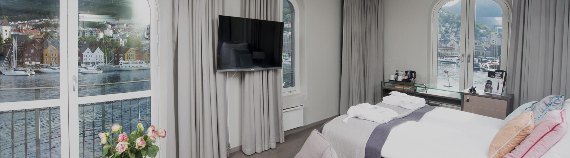 Several hotels offer rooms with panoramic views of Bergen.